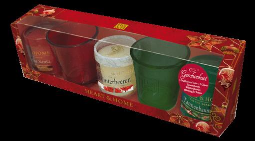 Geschenkset 3 Votivkerzen + 2 Gläser (Waiting for Santa / Tannenbaum / Winterbeere + Gläser rot /