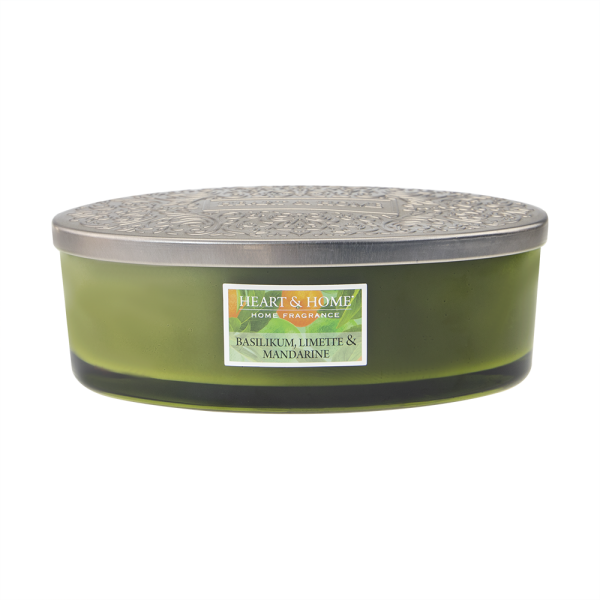 Duftkerze Ellipse Basilikum, Limette & Mandarine 420g
