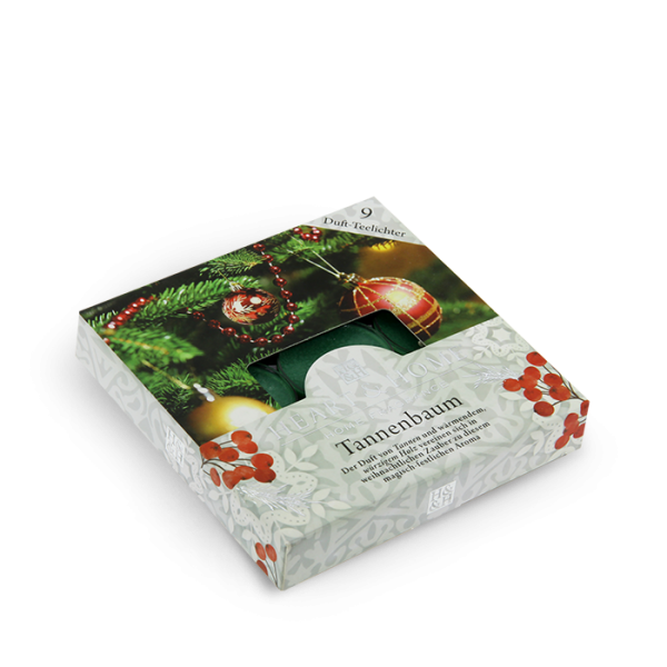 Duft-Teelichter Tannenbaum im Geschenkkarton