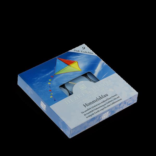 Duft-Teelichter Himmelsblau im Geschenkkarton