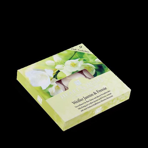 Duft-Teelichter Weißer Jasmin & Freesie im Geschenkkarton