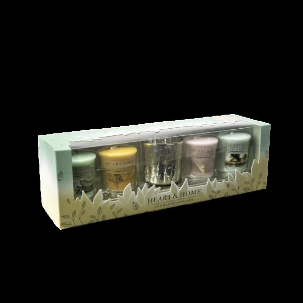 """Geschenkset """"4 Votivkerzen + 1 Glas"""""""