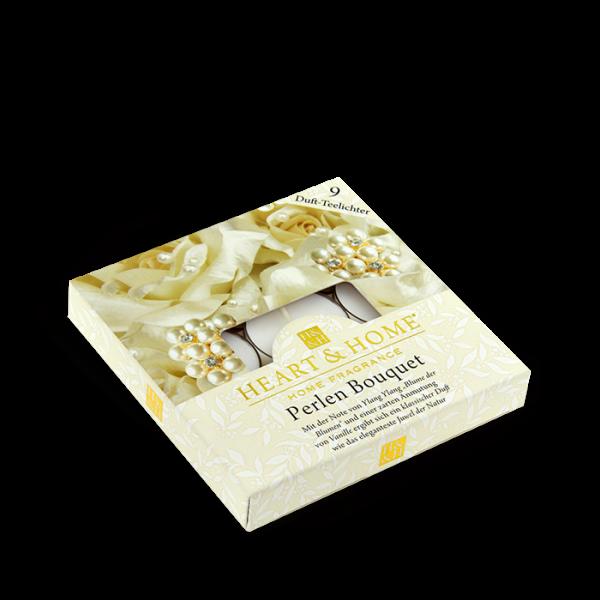 Duft-Teelichter Perlen Bouquet im Geschenkkarton