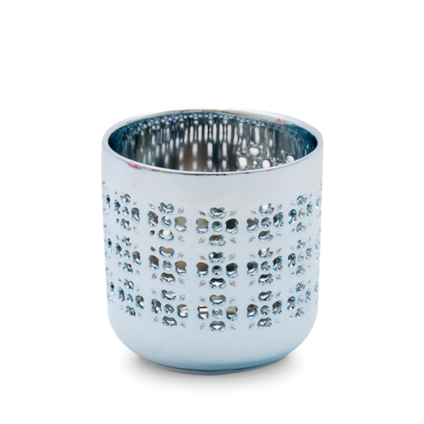 Teelichthalter Metallic Blau