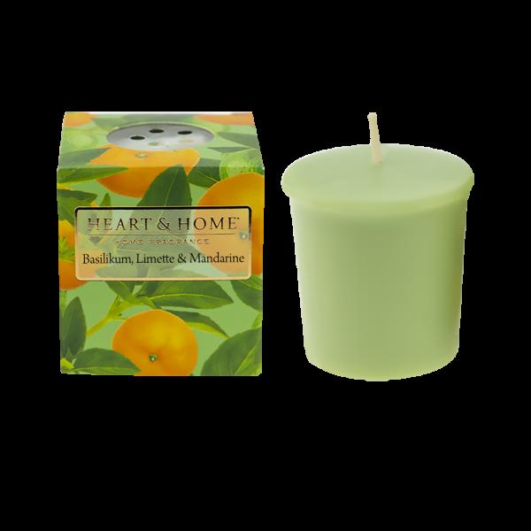 Votivkerze Basilikum, Limette & Mandarine 52g