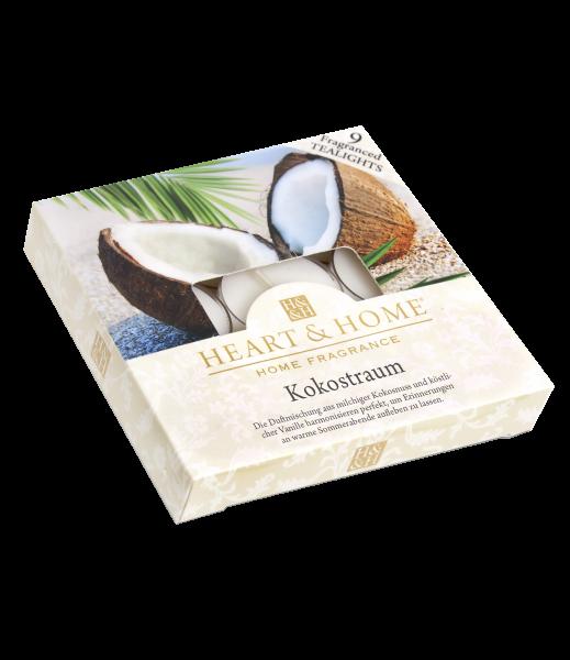 Duft-Teelichter Kokostraum im Geschenkkarton