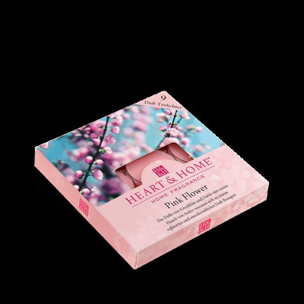 Duft-Teelichter Pink Flower im Geschenkkarton