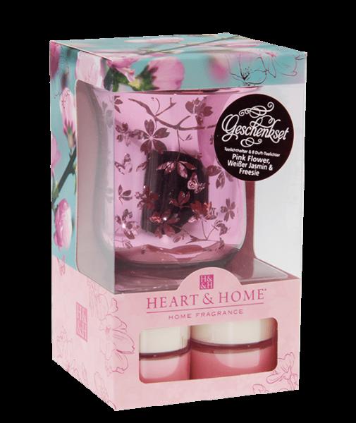 """Geschenkset """"Teelichhalter Glas Pink + 2 Duft-Teelichter"""""""